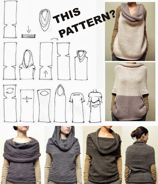 "Garment inspiration: An interesting, sleeveless cowl knit tube top one could wear with either end of the tube ""up."" It even has a halter-wear iteration. While labeled a DIY, it's just this series of sketches and handful of pictures to work from, no knitting or sewing pattern offered."