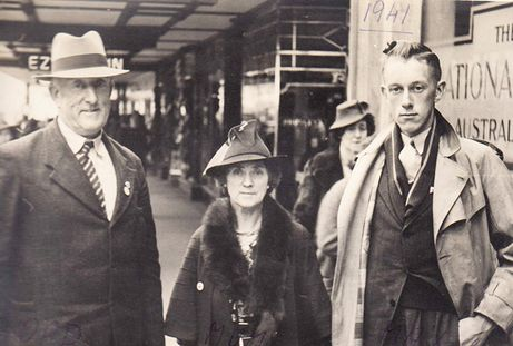 Maxwell Cassidy, shown here with his parents Edwin and Mary, before he left Tasmania to train as a pilot with the British Commonwealth Air Training Plan in Canada. Sadly, he was killed in 1944 when his Harvard crashed.