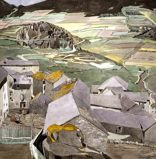 Charles Rennie Mackintosh (Scottish, 1868-1928), The Village of La Lagonne. Watercolour on paper, 45.7 x 45.7 cm. Kelvingrove Art Gallery, Glasgow.