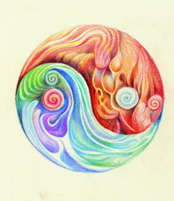 La Pintura de Yin Yang de la mandala, hecho a mano de la bella arte firmado, Yin Yang, Obra Espiritual, Terapeuta de Arte regalo, Yoga Arte curativo