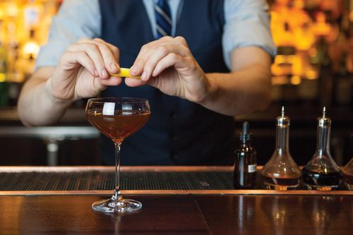 #Cocktail #recipe - Up to Date from #StarChefsRS Mixologist Chris Lowder of #TheNoMad: #Rye, #Sherry, #GrandMarnier, Orange #Bitters, #AngosturaBitters, Lemon Peel