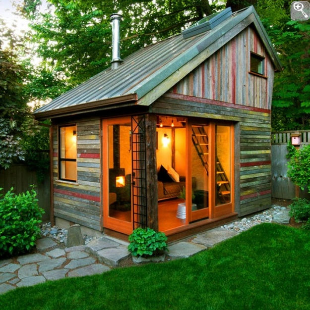 This Small Backyard Guest House Is Big On Ideas For: Lovely Rustic Shed Complete With Tin Roof.