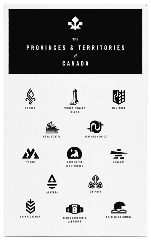 Mid-Century Canada logo designs for every province in Canada in a graphic vintage-inspired style.