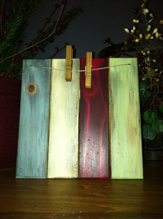 Slatted Wood Rustic 6x6 Clothespin Picture by picketfencecrafts, $19.95