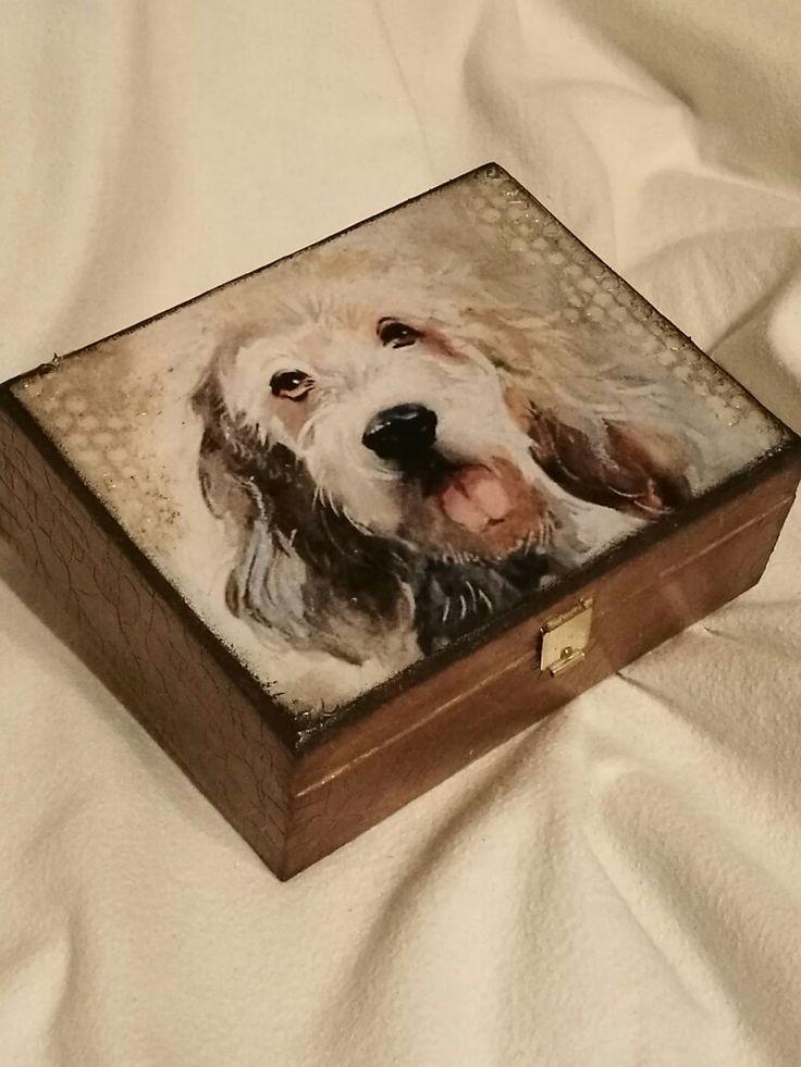 Édes kis kutyusos dobozka /decoupage, cute dog, box for dog lovers
