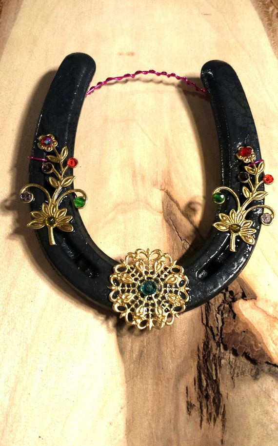Real Iron Beaded Horseshoe Adorned with Brass by FlowerFelicity, $16.99
