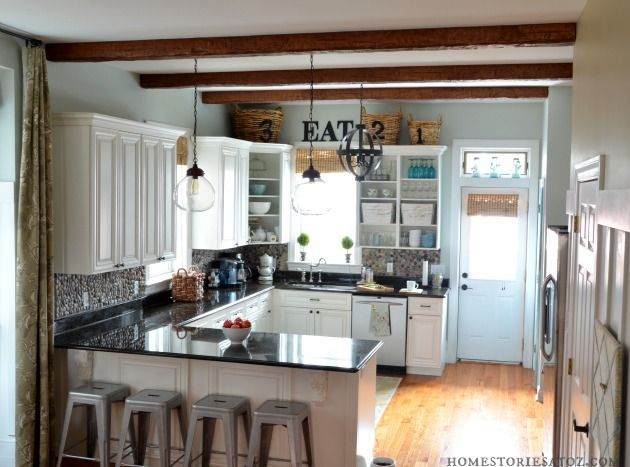 Great kitchen reno from @Beth Hunter of Home Stories A to Z Kitchen with Faux ceiling Beams