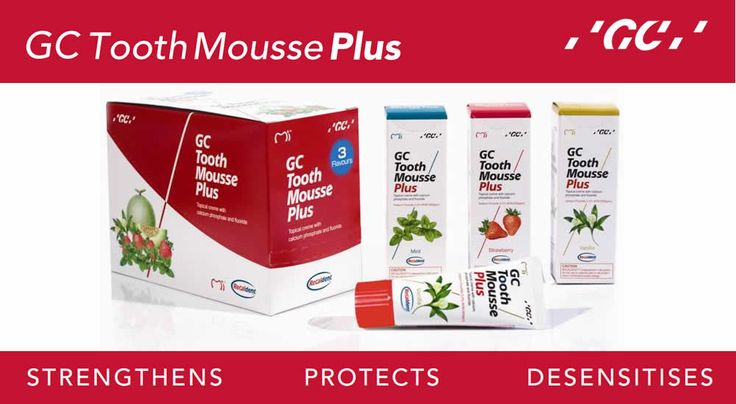 GC #ToothMoussePlus is a water based crème containing Recaldent with incorporated fluoride (CPP-ACPF: casein phosphopeptide – amorphous calcium phosphate fluoride). The level of fluoride is 0.2%, (900ppm), which approximates that in adult strength toothpastes. When #CPPACPF is applied in the oral environment, it will bind to biofilms,plaque,bacteria,hydroxyapatite and soft tissue localising calcium, phosphate and fluoride. For more information Call Toll free: 1800-425-3132