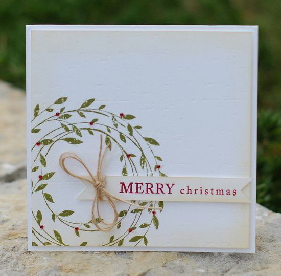 Christmas Card Merry Christmas Nice card easy to make on mass for all my friends. CAS card, Christmas card, Stampin Up www.hobbycraft.co... ...