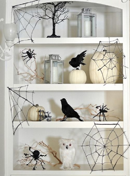 diy glitter spider webs made from glue wax paper and black glitter - Black And White Halloween Party