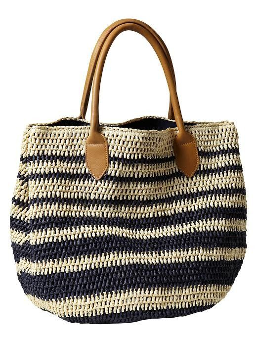 Striped Straw Tote-- I especially like the straps, they make the bag look much more polished than if it had crocheted straps.