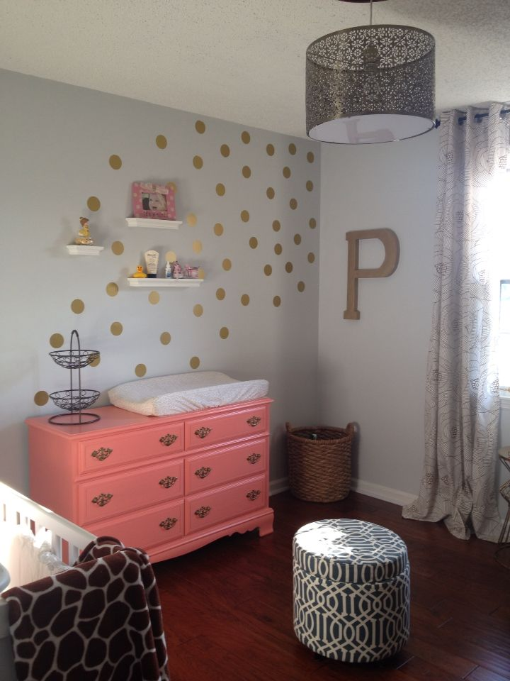 Gold And Coral Nursery Painted Furniture And Gold Polka