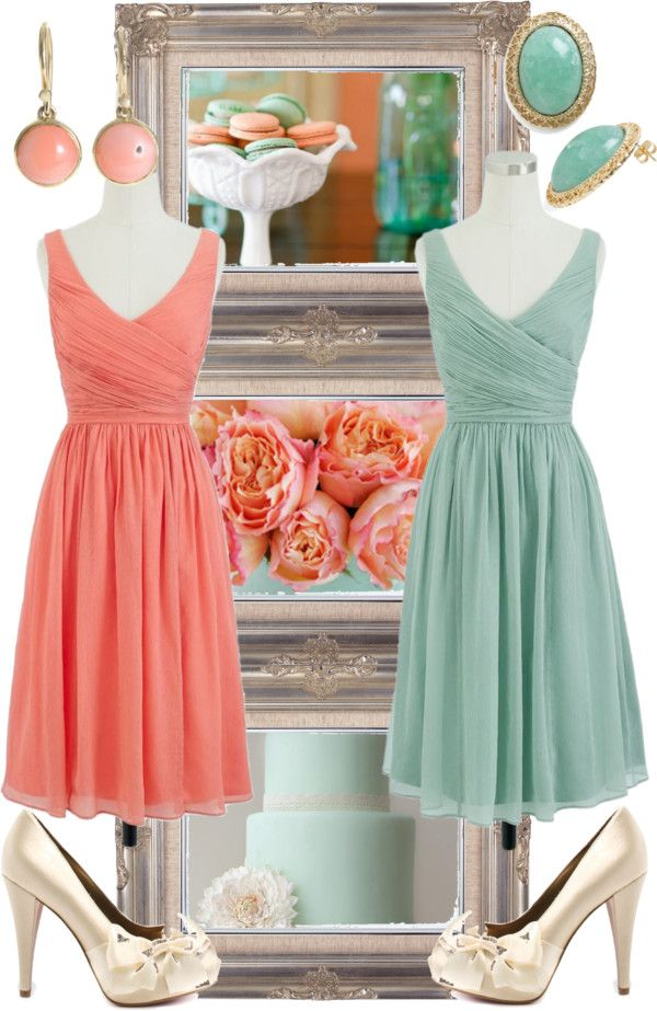 """Seafoam and Coral Wedding"" by allij28 on Polyvore- I may take DD's suggestion and move away from the peach for a more common coral"