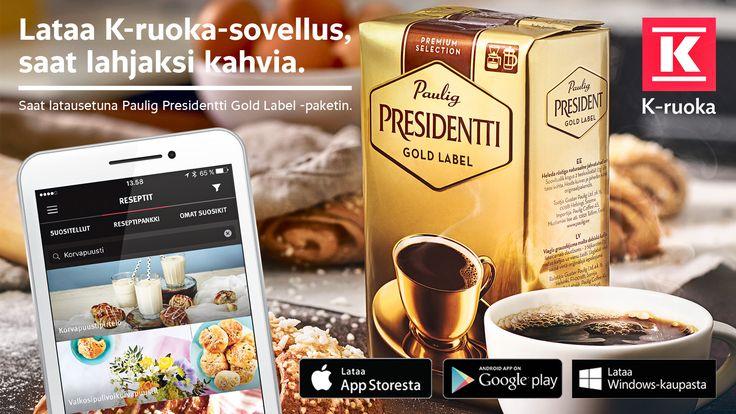 Lataa K-ruoka -sovellus, saat lahjaksi kahvia!  http://www.k-ruoka.fi/mobiilisovellus/