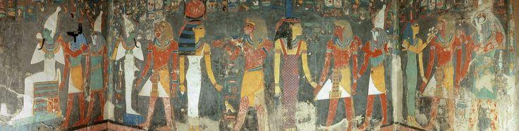 Tomba ipogea del Re Horemheb - ca 2000 a.C. Nuovo Regno - valle dei re - pittura con rilievo di stucco
