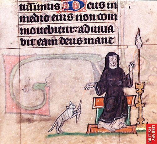 This image is from an illuminated manuscript that dates to around the year 1310, about 700 years ago. With a bit of a wardrobe change it could be any spindler and her cat today.