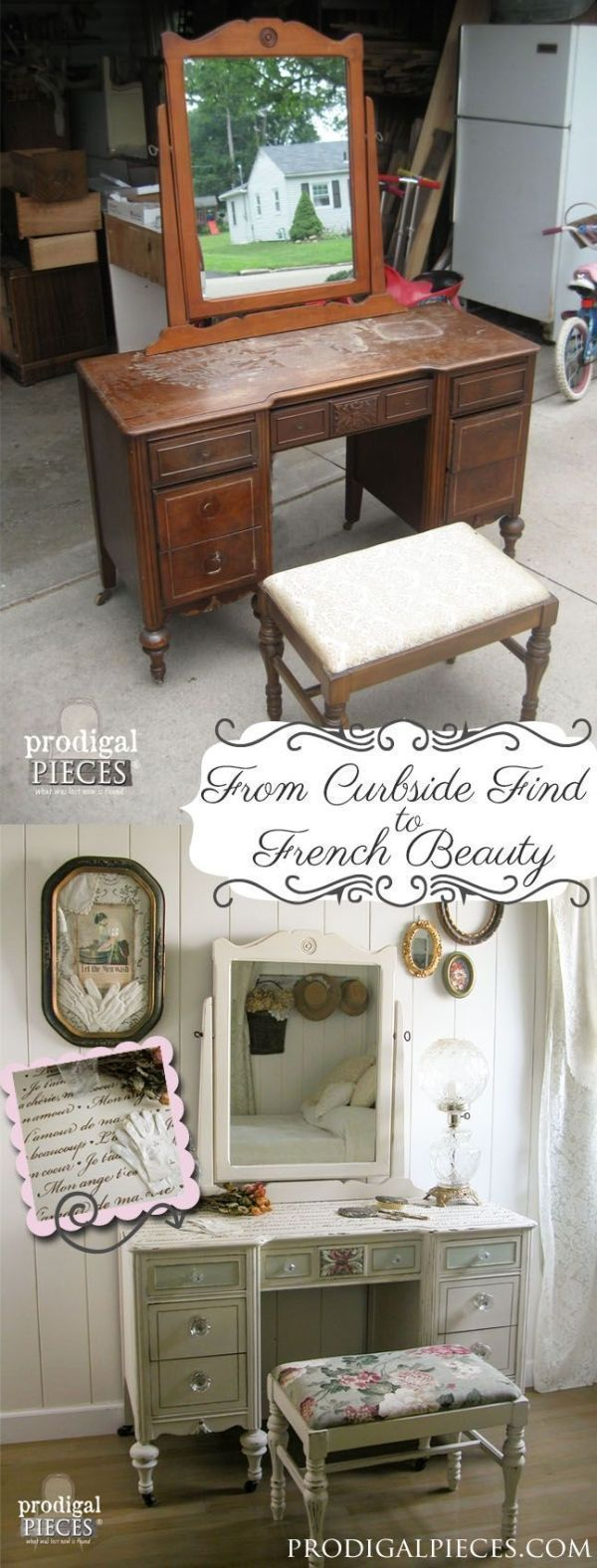 From curbside to French beauty - Shabby Chic Furniture using French quotes and lettering stencils - Royal Design Studio designer stencils for furniture makeover DIY projects by deborah #shabbychicfurnituremakeover