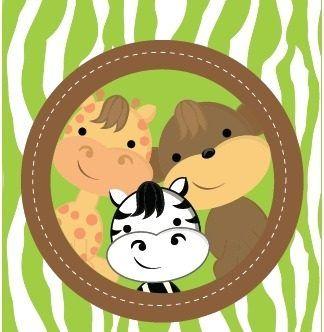 Kit Imprimible Animales De La Jungla Baby Shower,                              …
