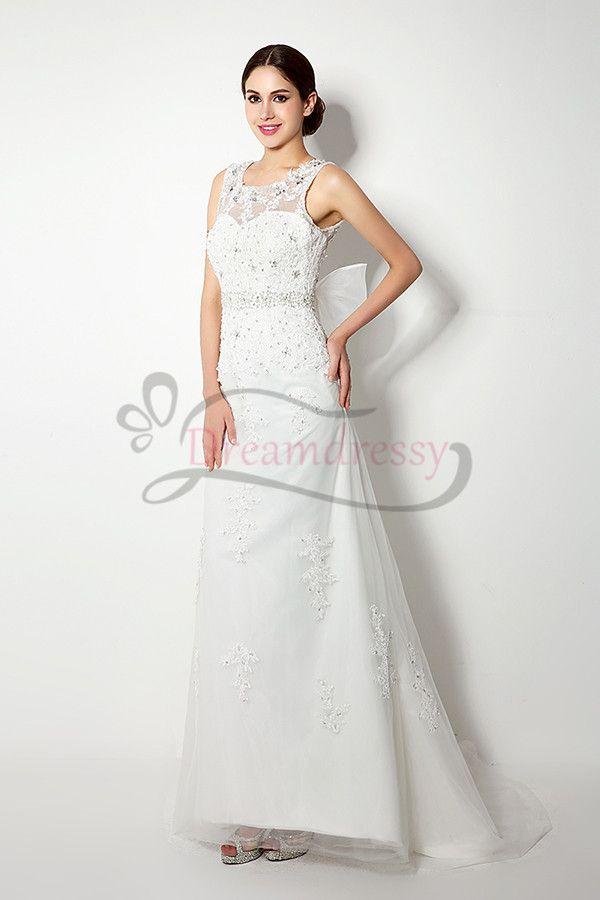 Elegant Sleeveless Ivory Beaded Long Wedding Dress With Bow Tina