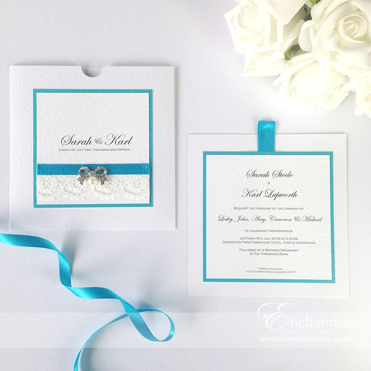 Pretty Lace And Teal Wedding Invitations From The Snow White Collection Featuring Ivory Luxury Turquoise Aqua Ribbon Pearl Bow Embellishment