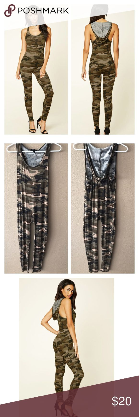 "Hooded camouflage jumpsuit Soft knitted hooded jumpsuit featuring an allover camo print, racerback, scoop neckline, and fitted silhouette. Bust 36"", inseam 27"", length 45"". Rayon & spandex. NWT medium Forever 21 Pants Jumpsuits & Rompers"
