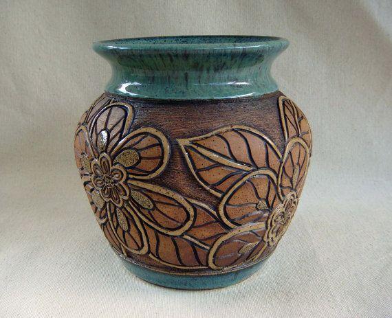 pottery hand carved vase with flower design 1345 vase flower and