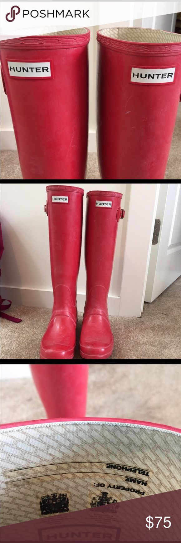 Hunter Red Boots Tall Red hunter boots size 8. Great condition. Only wear is the natural whitening these rain boots have after wearing but can easily be cleaned. Actually I'd love to trade these with short boots! Hunter Shoes Winter & Rain Boots