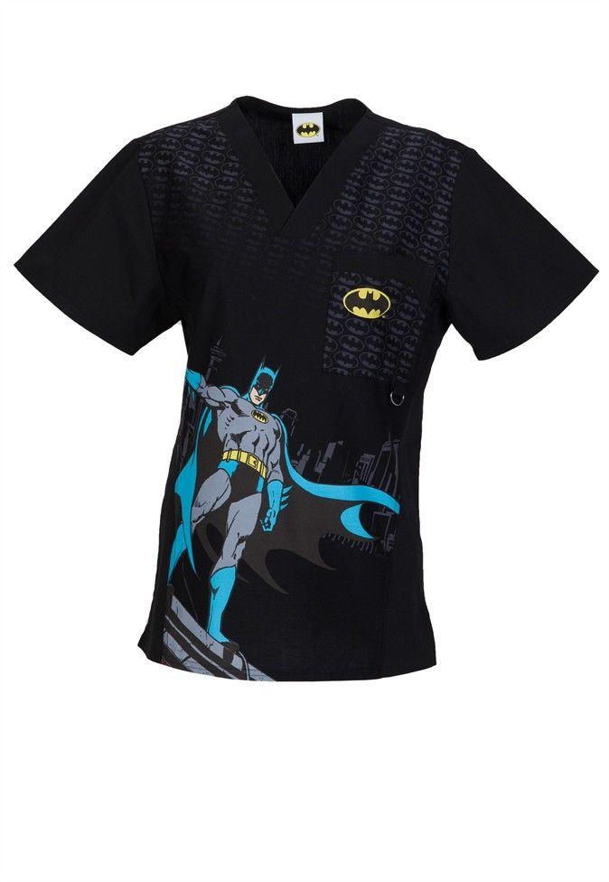 Cherokee Tooniforms Men's The Batman print scrub top   Scrubs and Beyond