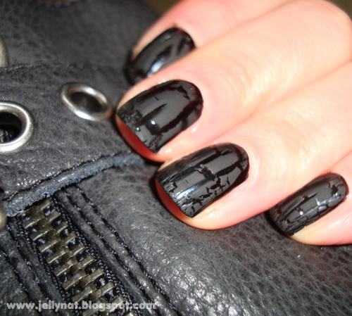 black polish for base and either black crackle because it's matte or gray crackle on top