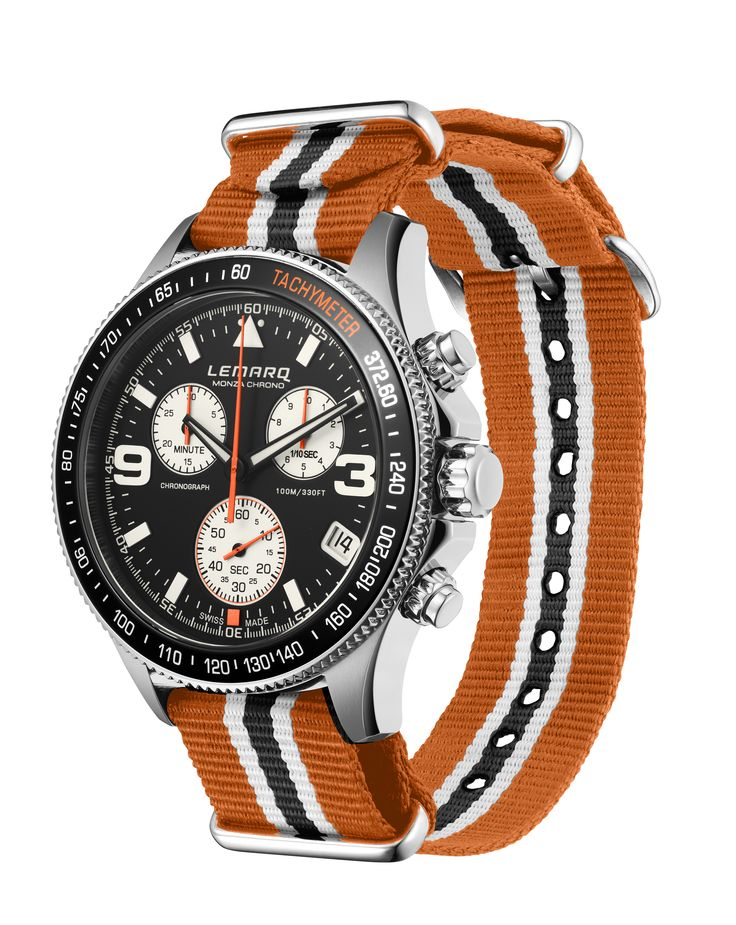 Available now: the black Monza Chrono combined with the orange/black NATO strap.