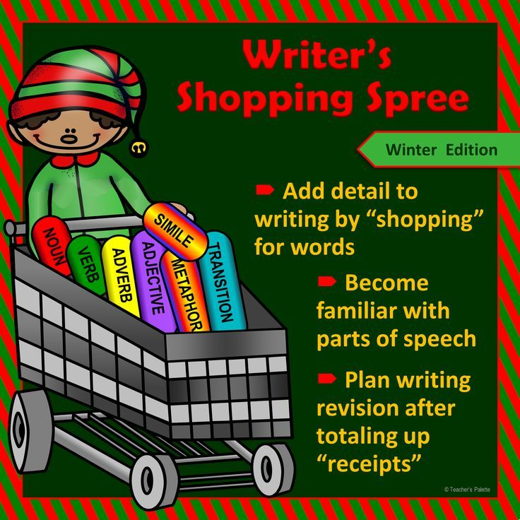 """A Christmas writing activity that helps students with creative writing, while teaching parts of speech at the same time! Students """"shop"""" for winter-related words in order to create a colorful holiday/winter tale. Students love that each word has a different """"dollar"""" amount depending on how challenging it is to add to their story. They add up their """"receipts"""" when they are done writing."""
