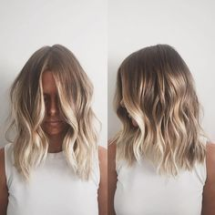 When it comes to medium-length hair, we're seeing lots of texture (loose waves and curls) combined with balayage.