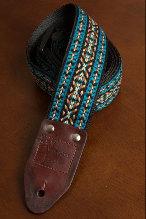 Teal/Peach Vintagestyled Guitar Strap by nowherebearstraps on Etsy, $65.00