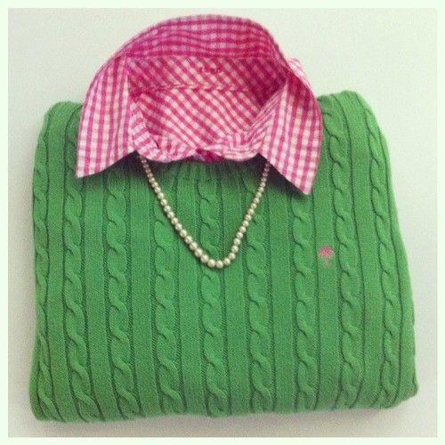 Pink gingham shirt, green LP sweater & pearls. Love!