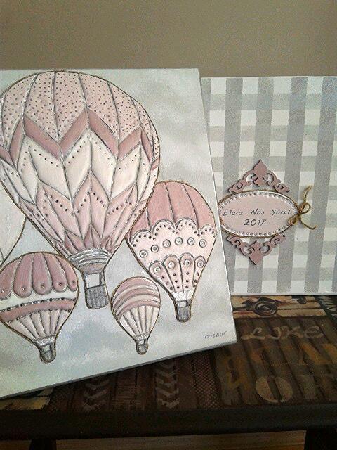 ahşap boyama rölyef kutu anı kutusu handpaint rolief box handmade hot air baloon memory box