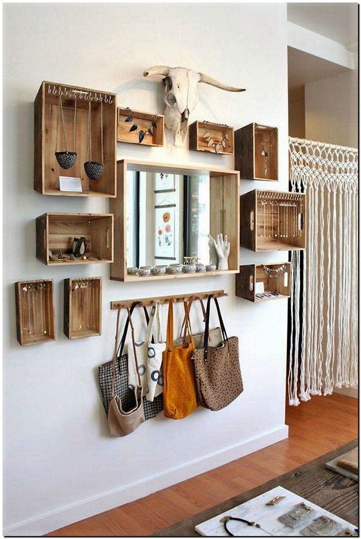 fruit crates wall shelving