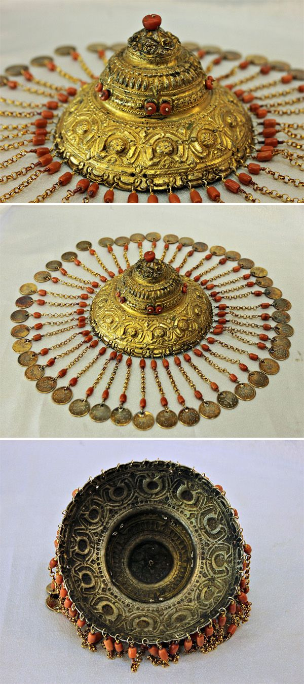Ottoman solid silver, gold wash and coral bridal headpiece | Original silver coins from the 19th century | 2,000$