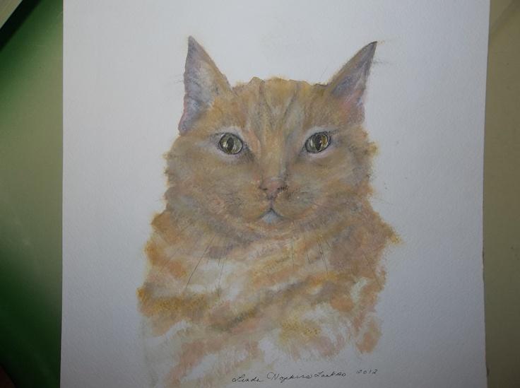 koozie 10x10 original oil pastel by Linda Hopkins Laakso