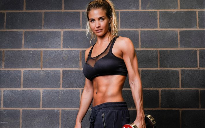 Download wallpapers Gemma Atkinson, British model, fitness, bodybuilding, womens sportswear, dumbbells, Photoshoot, Ultimate Performance