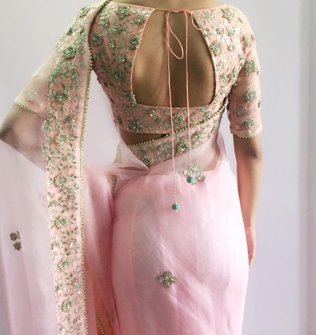 Beautiful Baby Pink #Saree With Embroidered Open Back #Blouse.