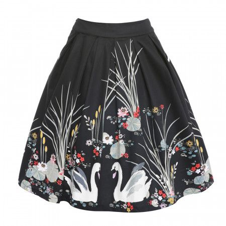 Daniella Black Swan Swing Skirt | 50's Inspired Fashion - Lindy Bop