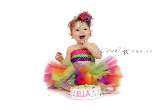 Baby Tutu in Rainbow Perfect for First Birthday by Baby2BNashville, $32.00