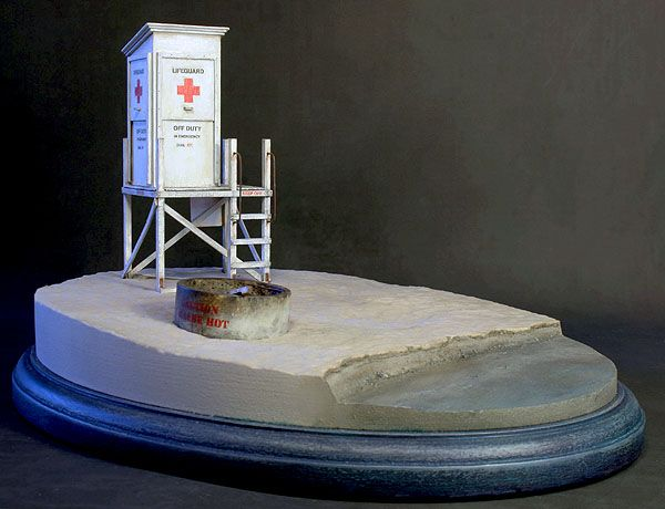 1/32 scale Lifeguard tower model kit on a scenic base