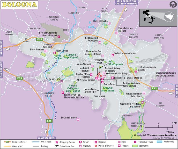 Bologna Map, Map of Bologna City, Italy