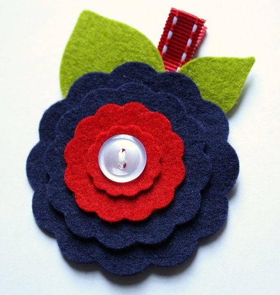Wool Felt Flower Hair ClipNavy and Red by MyDarlingDandelion