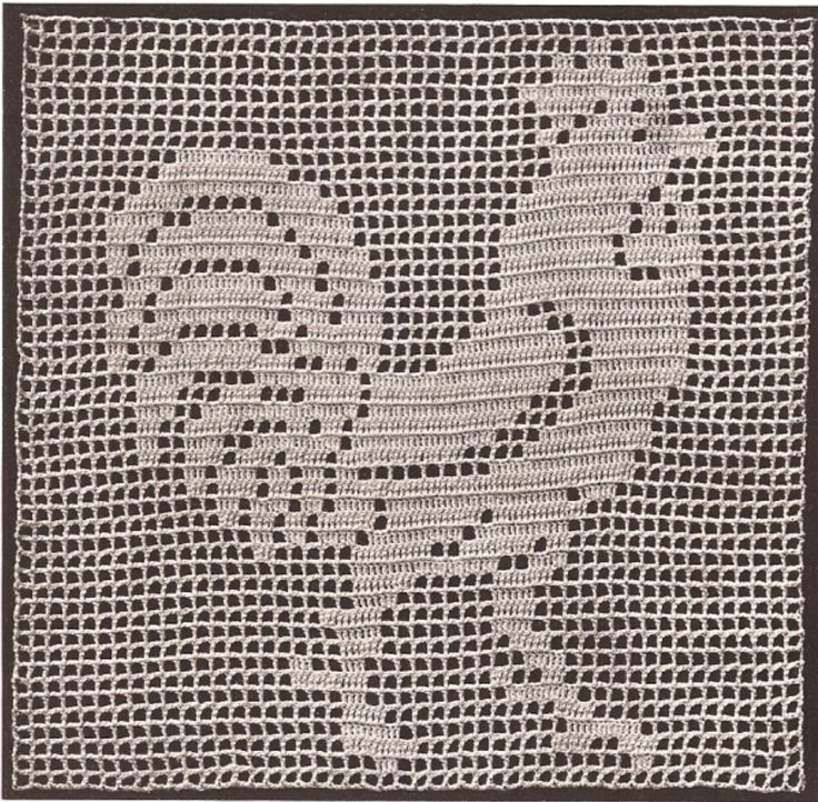 Vintage Crochet Mary Fitch Filet Rooster Motif Pattern | eBay