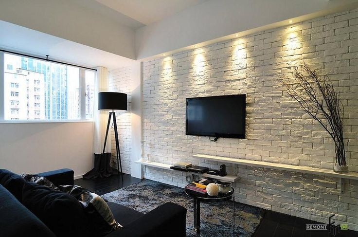 Simply White Living Room Ideas: An-amazing-white-brick-wall-idea-for-elegant-black-and