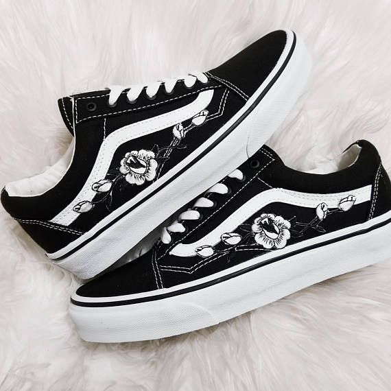 Rose Buds White Blk Low Up Unisex Custom Rose Embroidered Patch Vans Old Skool Sneakers Blk Buds Custom In 2020 Vans Shoes Custom Vans Shoes
