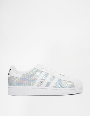 Adidas Superstar white + holographic