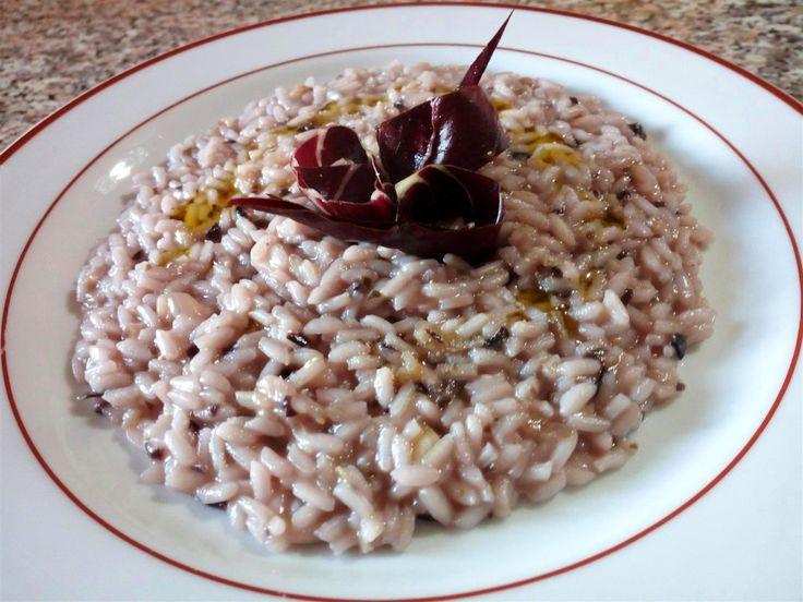 Risotto de radicchio al vino tinto - Risotto al radicchio con vino rosso - Red chicory risotto with red wine